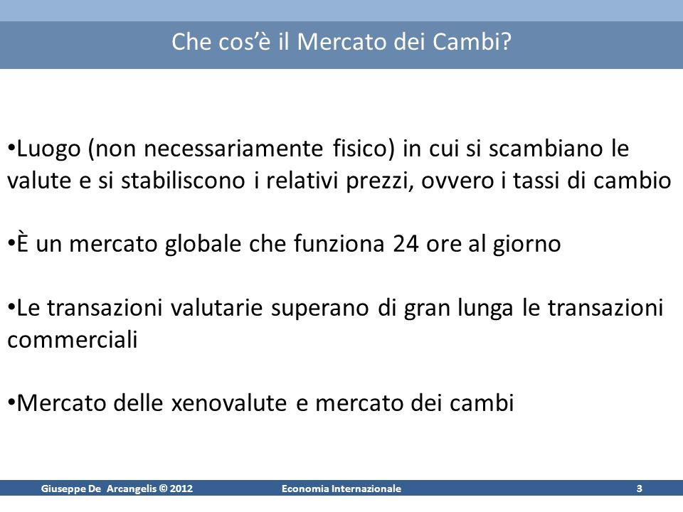 Giuseppe De Arcangelis © 2012Economia Internazionale3 Che cosè il Mercato dei Cambi? Luogo (non necessariamente fisico) in cui si scambiano le valute