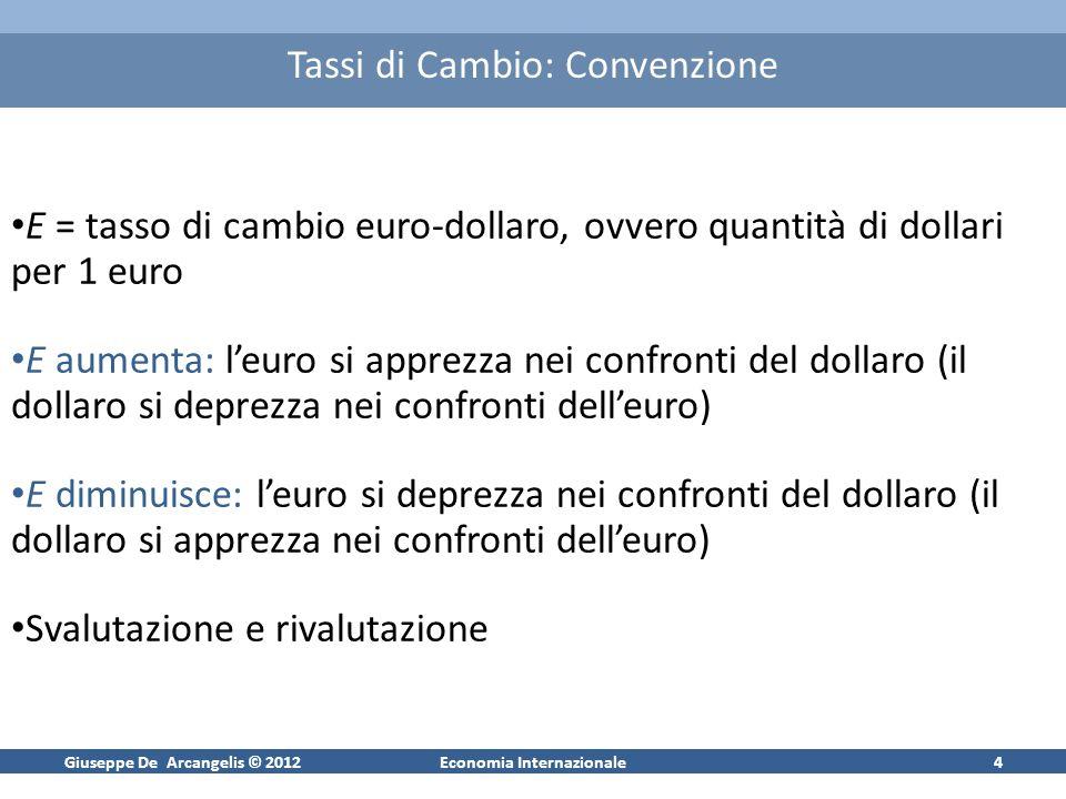 Giuseppe De Arcangelis © 2012Economia Internazionale4 Tassi di Cambio: Convenzione E = tasso di cambio euro-dollaro, ovvero quantità di dollari per 1