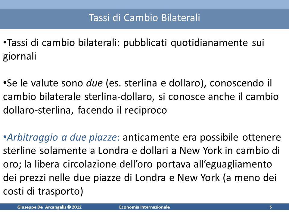 Giuseppe De Arcangelis © 2012Economia Internazionale5 Tassi di Cambio Bilaterali Tassi di cambio bilaterali: pubblicati quotidianamente sui giornali S