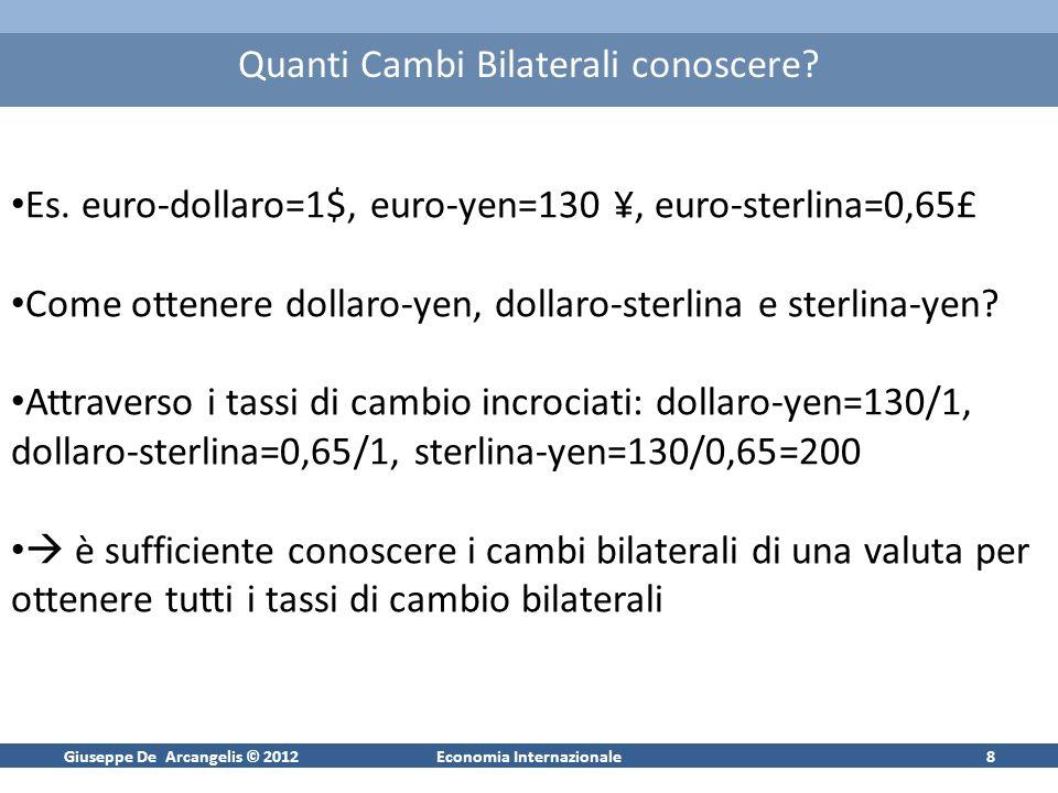 Giuseppe De Arcangelis © 2012Economia Internazionale8 Quanti Cambi Bilaterali conoscere? Es. euro-dollaro=1$, euro-yen=130 ¥, euro-sterlina=0,65£ Come