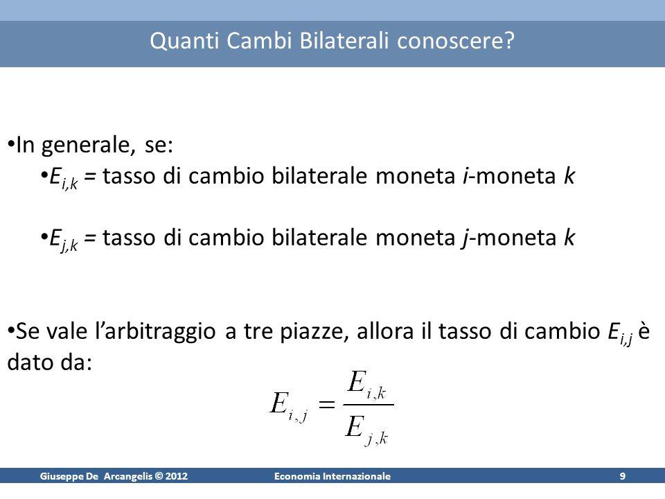 Giuseppe De Arcangelis © 2012Economia Internazionale9 Quanti Cambi Bilaterali conoscere? In generale, se: E i,k = tasso di cambio bilaterale moneta i-