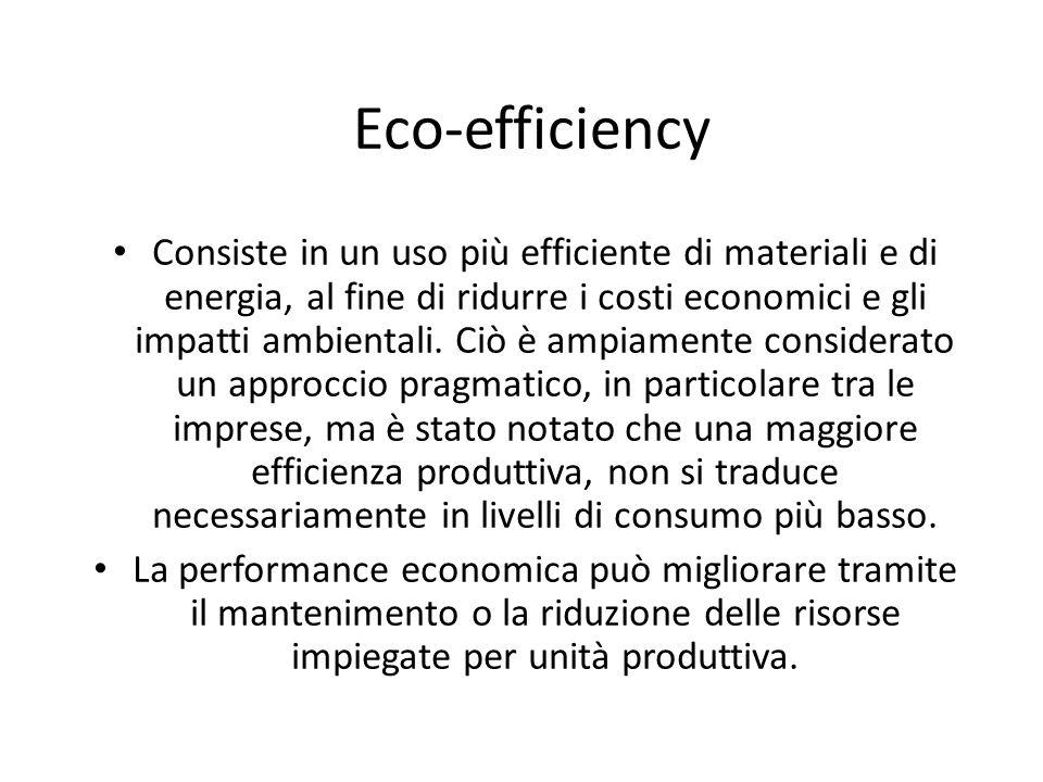 Eco-efficiency Consiste in un uso più efficiente di materiali e di energia, al fine di ridurre i costi economici e gli impatti ambientali. Ciò è ampia