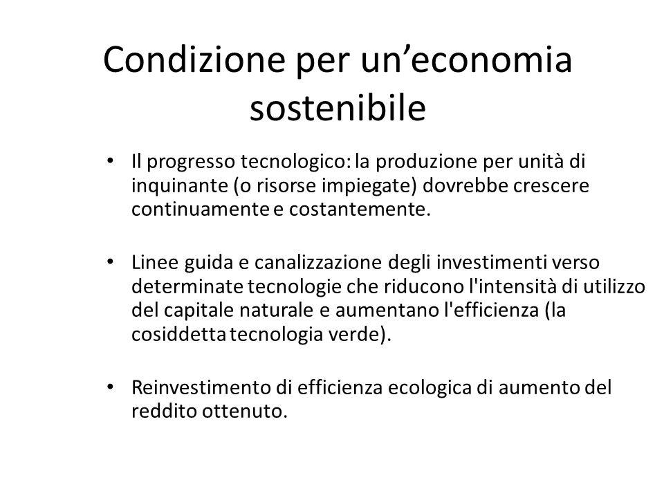 Condizione per uneconomia sostenibile Il progresso tecnologico: la produzione per unità di inquinante (o risorse impiegate) dovrebbe crescere continua