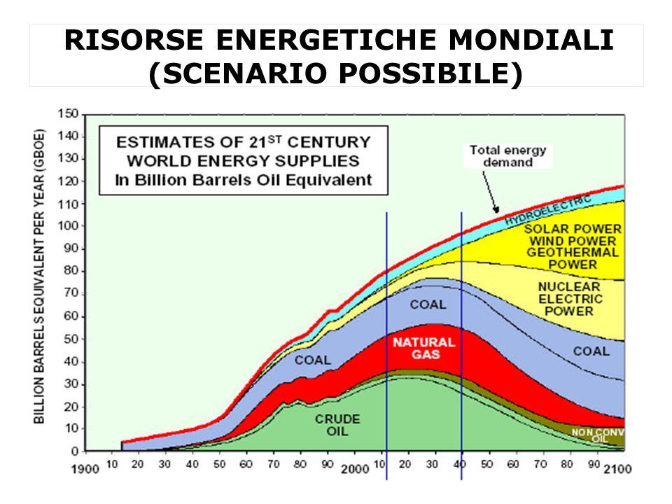 RISORSE ENERGETICHE MONDIALI (SCENARIO POSSIBILE)