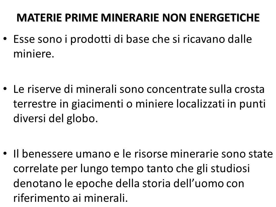 MATERIE PRIME MINERARIE NON ENERGETICHE Esse sono i prodotti di base che si ricavano dalle miniere. Le riserve di minerali sono concentrate sulla cros