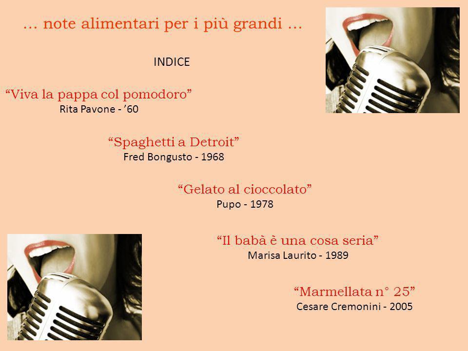 … note alimentari per i più grandi … INDICE Viva la pappa col pomodoro Rita Pavone - 60 Spaghetti a Detroit Fred Bongusto - 1968 Gelato al cioccolato
