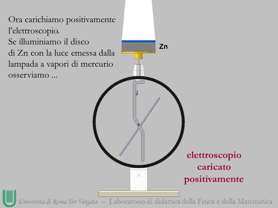 Università di Roma Tor Vergata Laboratorio di didattica della Fisica e della Matematica elettroscopio caricato positivamente Zn Ora carichiamo positiv