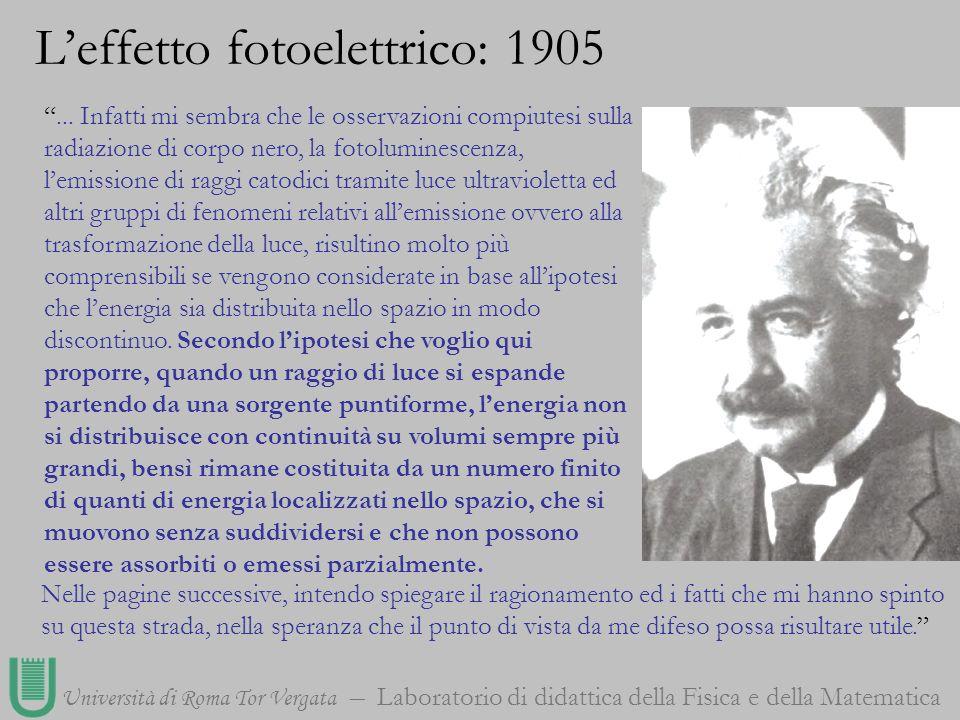 Università di Roma Tor Vergata Laboratorio di didattica della Fisica e della Matematica... Infatti mi sembra che le osservazioni compiutesi sulla radi
