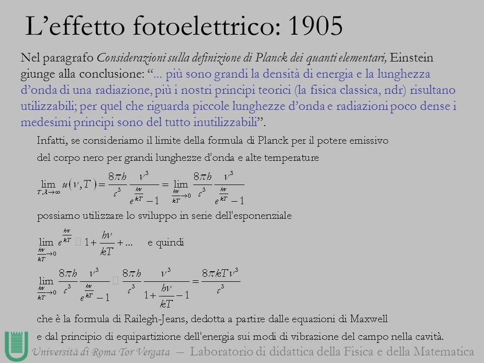 Università di Roma Tor Vergata Laboratorio di didattica della Fisica e della Matematica Nel paragrafo Considerazioni sulla definizione di Planck dei q