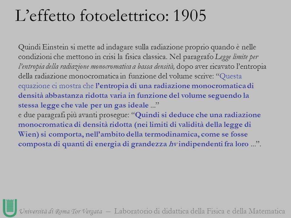Università di Roma Tor Vergata Laboratorio di didattica della Fisica e della Matematica Quindi Einstein si mette ad indagare sulla radiazione proprio