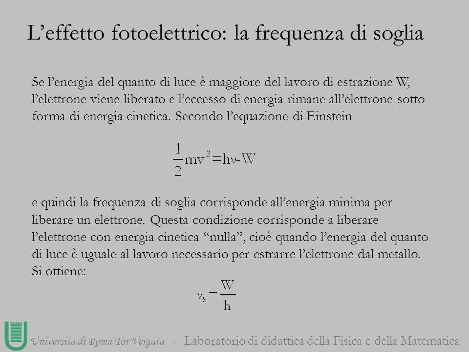 Università di Roma Tor Vergata Laboratorio di didattica della Fisica e della Matematica Se lenergia del quanto di luce è maggiore del lavoro di estraz