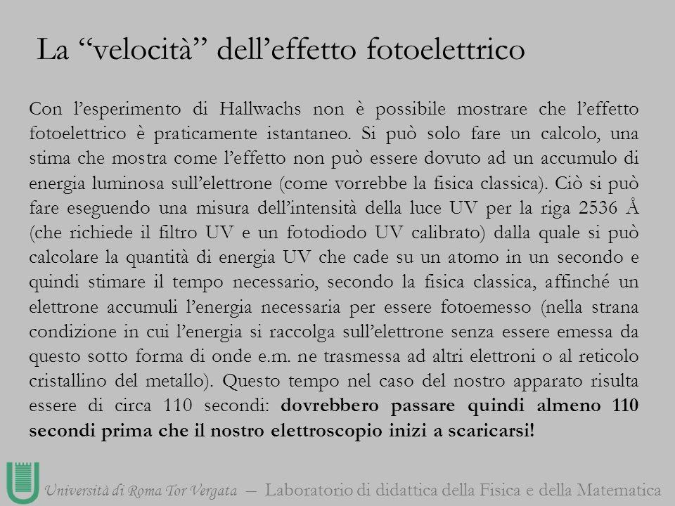 Università di Roma Tor Vergata Laboratorio di didattica della Fisica e della Matematica Con lesperimento di Hallwachs non è possibile mostrare che lef