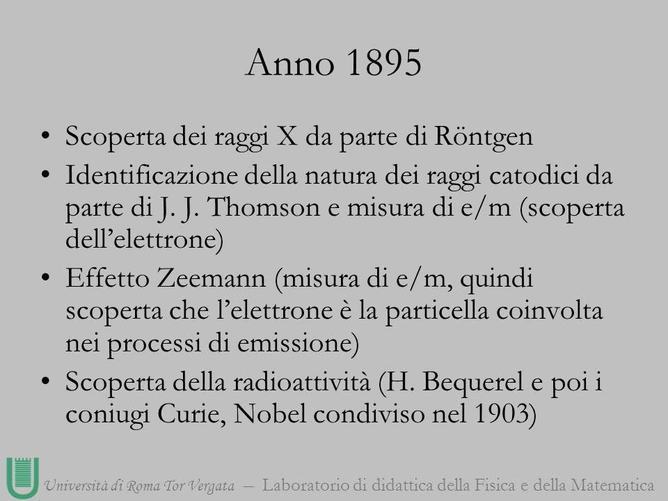 Università di Roma Tor Vergata Laboratorio di didattica della Fisica e della Matematica Anno 1895 Scoperta dei raggi X da parte di Röntgen Identificaz