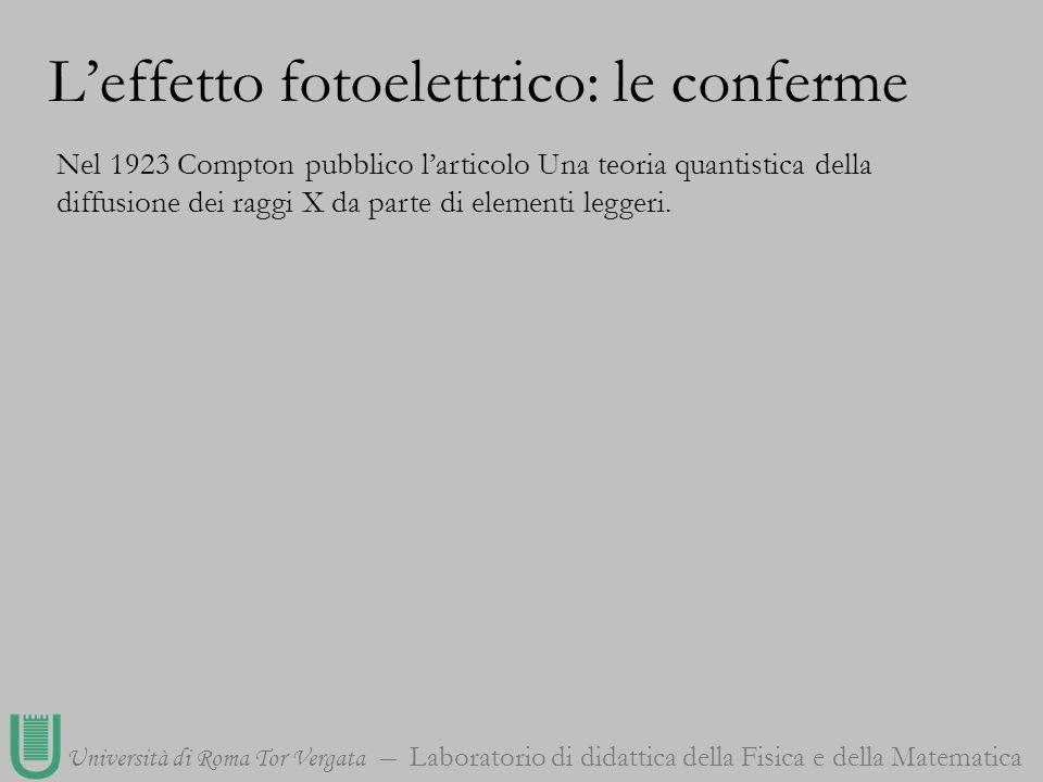 Università di Roma Tor Vergata Laboratorio di didattica della Fisica e della Matematica Nel 1923 Compton pubblico larticolo Una teoria quantistica del