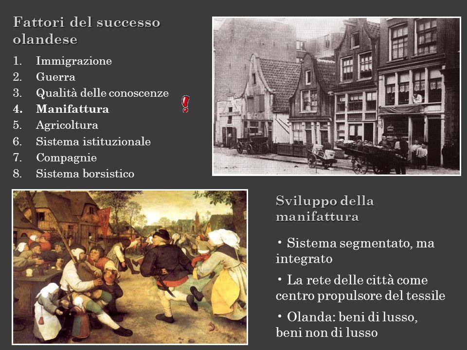 Fattori del successo olandese 1.Immigrazione 2.Guerra 3.Qualità delle conoscenze 4.Manifattura 5.Agricoltura 6.Sistema istituzionale 7.Compagnie 8.Sis