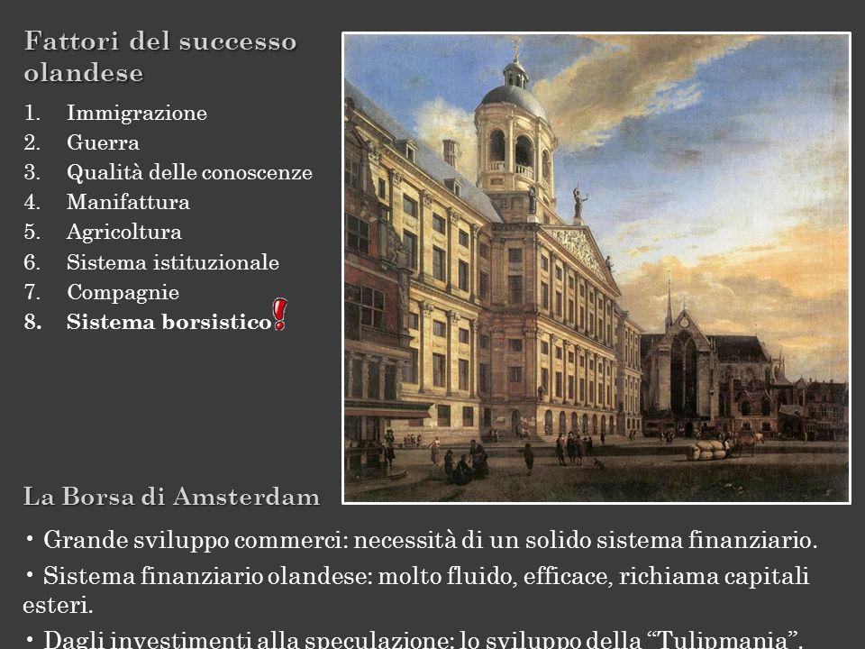 La Borsa di Amsterdam Grande sviluppo commerci: necessità di un solido sistema finanziario. Sistema finanziario olandese: molto fluido, efficace, rich
