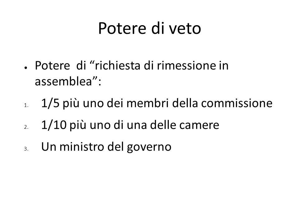 Potere di veto Potere di richiesta di rimessione in assemblea: 1. 1/5 più uno dei membri della commissione 2. 1/10 più uno di una delle camere 3. Un m