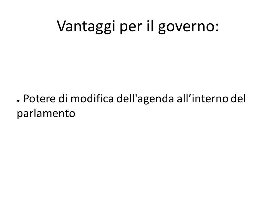 Potere di modifica dell'agenda allinterno del parlamento Vantaggi per il governo:
