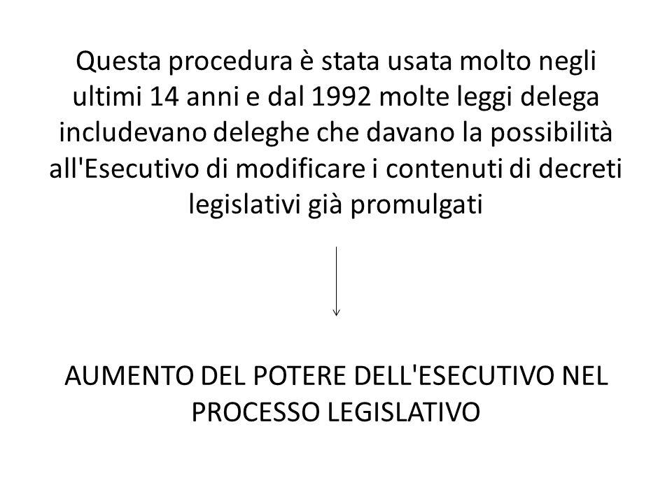 Questa procedura è stata usata molto negli ultimi 14 anni e dal 1992 molte leggi delega includevano deleghe che davano la possibilità all'Esecutivo di