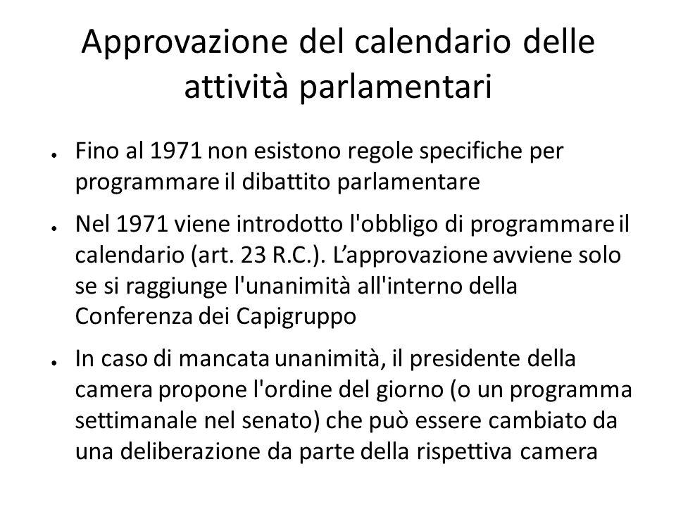 Approvazione del calendario delle attività parlamentari Fino al 1971 non esistono regole specifiche per programmare il dibattito parlamentare Nel 1971