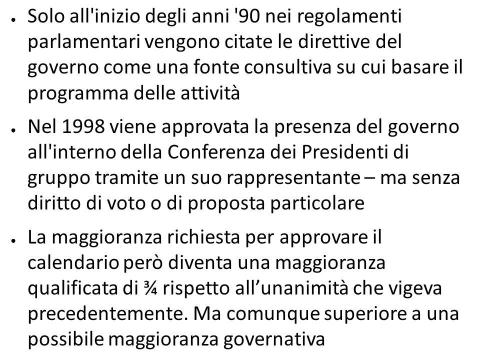 Solo all'inizio degli anni '90 nei regolamenti parlamentari vengono citate le direttive del governo come una fonte consultiva su cui basare il program