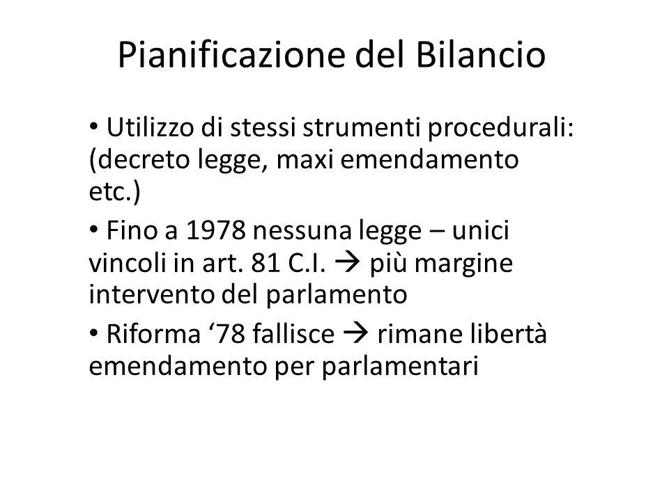 Pianificazione del Bilancio Utilizzo di stessi strumenti procedurali: (decreto legge, maxi emendamento etc.) Fino a 1978 nessuna legge – unici vincoli