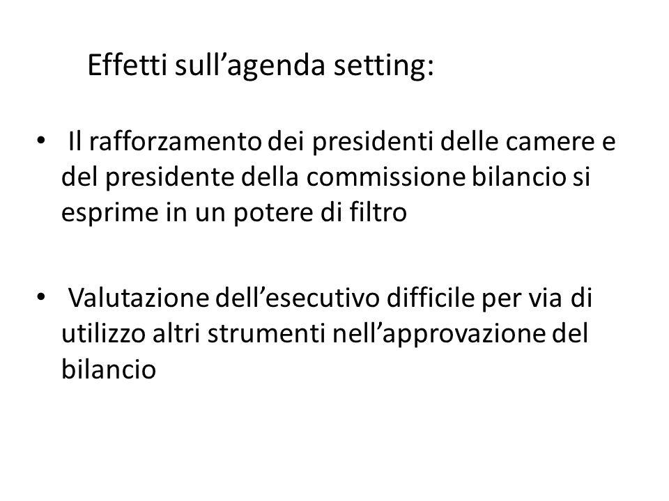 Il rafforzamento dei presidenti delle camere e del presidente della commissione bilancio si esprime in un potere di filtro Valutazione dellesecutivo d