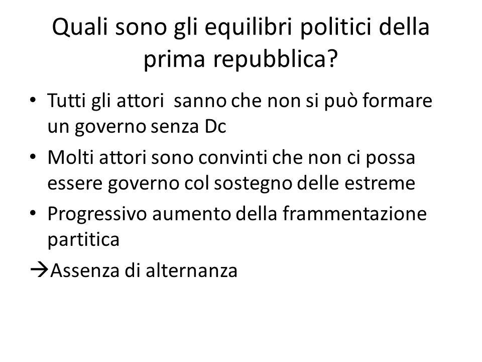 Quali sono gli equilibri politici della prima repubblica? Tutti gli attori sanno che non si può formare un governo senza Dc Molti attori sono convinti