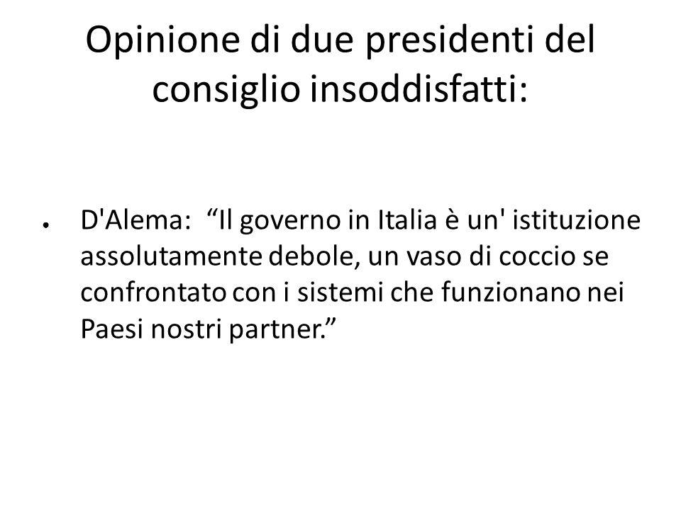 Opinione di due presidenti del consiglio insoddisfatti: D'Alema: Il governo in Italia è un' istituzione assolutamente debole, un vaso di coccio se con
