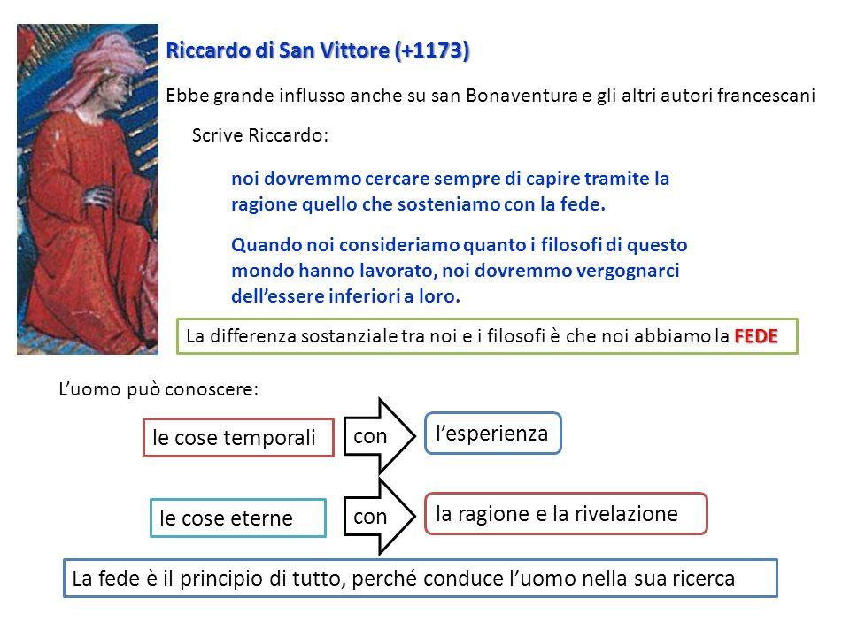Riccardo di San Vittore (+1173) Ebbe grande influsso anche su san Bonaventura e gli altri autori francescani noi dovremmo cercare sempre di capire tra