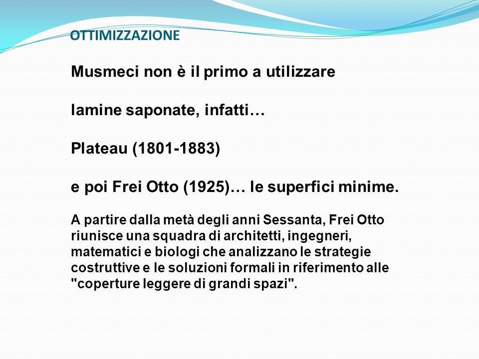 OTTIMIZZAZIONE Musmeci non è il primo a utilizzare lamine saponate, infatti… Plateau (1801-1883) e poi Frei Otto (1925)… le superfici minime. A partir