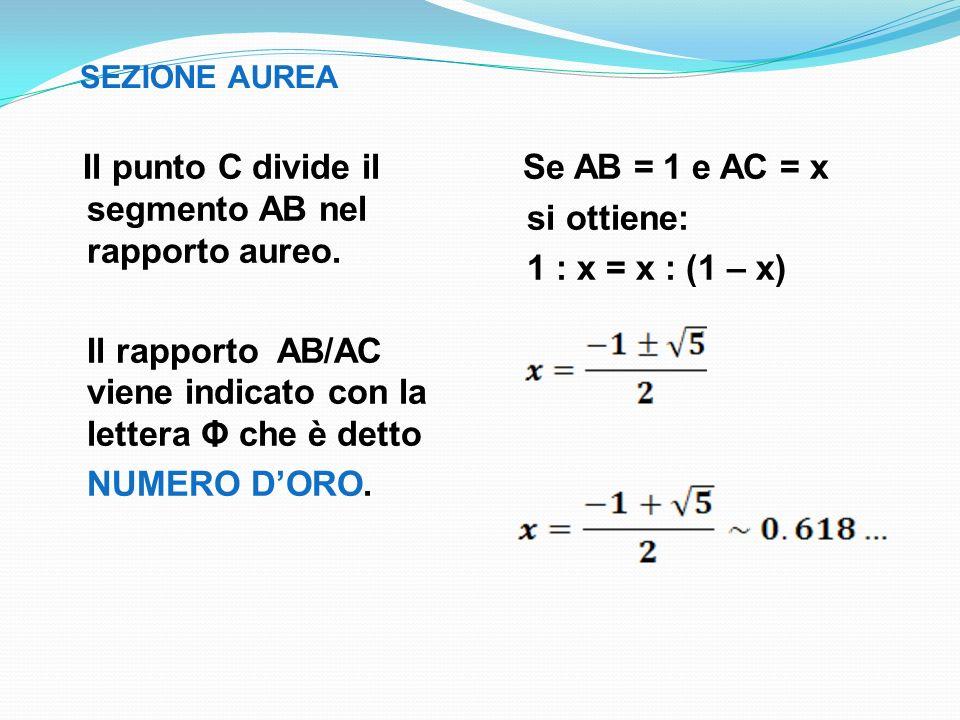SEZIONE AUREA Il punto C divide il segmento AB nel rapporto aureo. Il rapporto AB/AC viene indicato con la lettera Φ che è detto NUMERO DORO. Se AB =
