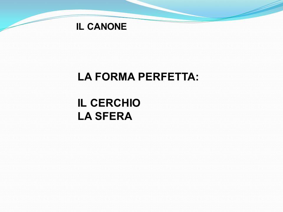 LA FORMA PERFETTA: IL CERCHIO LA SFERA IL CANONE