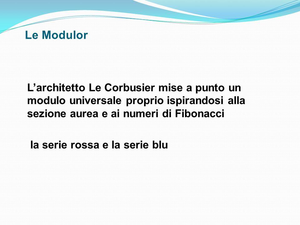 Le Modulor Larchitetto Le Corbusier mise a punto un modulo universale proprio ispirandosi alla sezione aurea e ai numeri di Fibonacci la serie rossa e