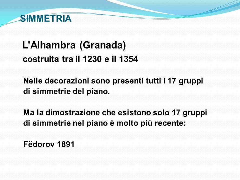 SIMMETRIA LAlhambra (Granada) costruita tra il 1230 e il 1354 Nelle decorazioni sono presenti tutti i 17 gruppi di simmetrie del piano. Ma la dimostra