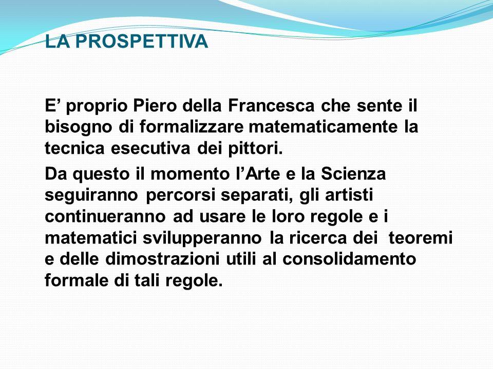 LA PROSPETTIVA E proprio Piero della Francesca che sente il bisogno di formalizzare matematicamente la tecnica esecutiva dei pittori. Da questo il mom