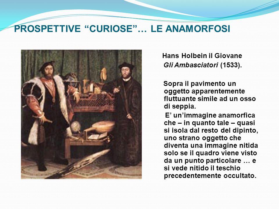 PROSPETTIVE CURIOSE… LE ANAMORFOSI Hans Holbein il Giovane Gli Ambasciatori (1533). Sopra il pavimento un oggetto apparentemente fluttuante simile ad