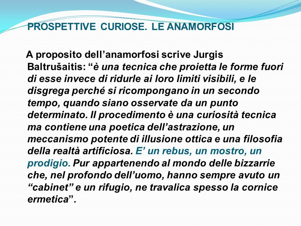 A proposito dellanamorfosi scrive Jurgis Baltrušaitis: è una tecnica che proietta le forme fuori di esse invece di ridurle ai loro limiti visibili, e