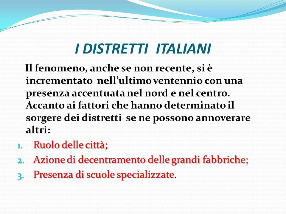 I DISTRETTI ITALIANI Il fenomeno, anche se non recente, si è incrementato nellultimo ventennio con una presenza accentuata nel nord e nel centro.