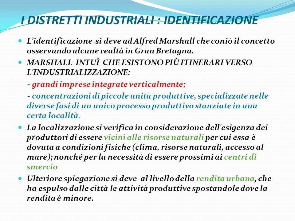I DISTRETTI INDUSTRIALI : IDENTIFICAZIONE Lidentificazione si deve ad Alfred Marshall che coniò il concetto osservando alcune realtà in Gran Bretagna.