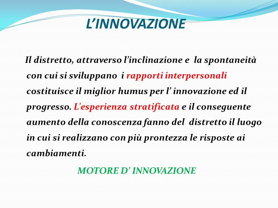 LINNOVAZIONE Il distretto, attraverso linclinazione e la spontaneità con cui si sviluppano i rapporti interpersonali costituisce il miglior humus per l innovazione ed il progresso.
