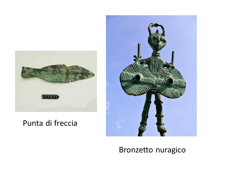 Verso la fine del periodo neolitico, si cominciano ad usare gli stampi (in terracotta), che consentono la figurazione tridimensionale Bronzetto di guerriero: viste laterali La nave sarda, uno dei pezzi più complessi della scultura nuragica