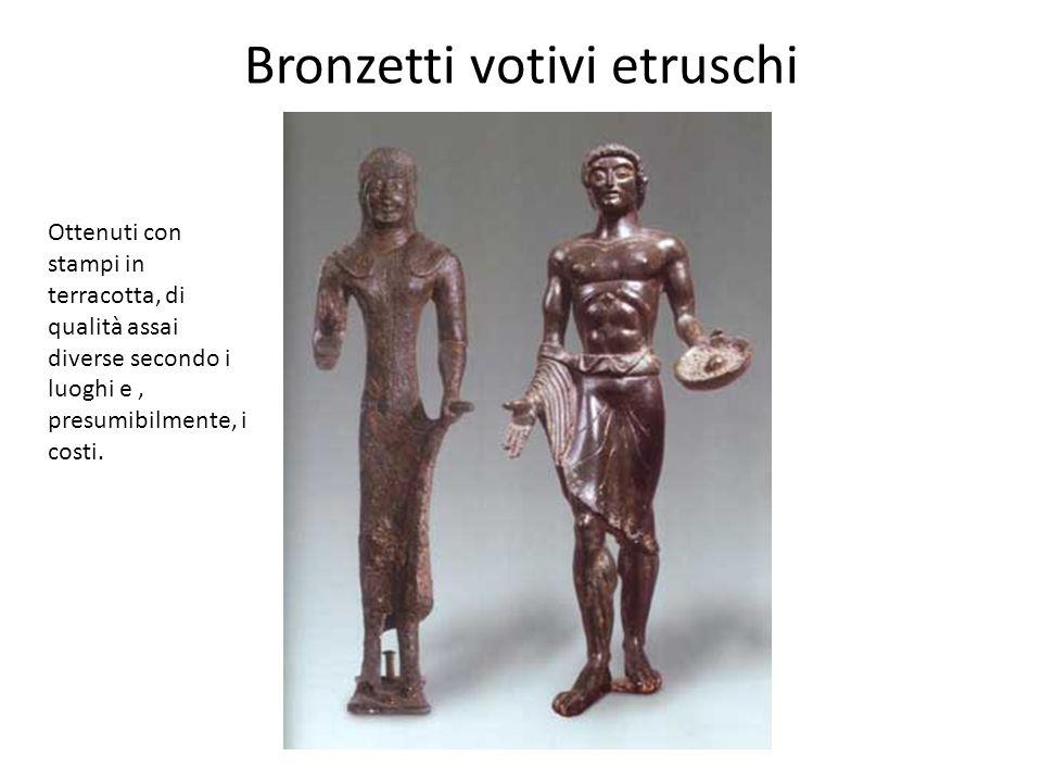 Bronzetti votivi etruschi Ottenuti con stampi in terracotta, di qualità assai diverse secondo i luoghi e, presumibilmente, i costi.