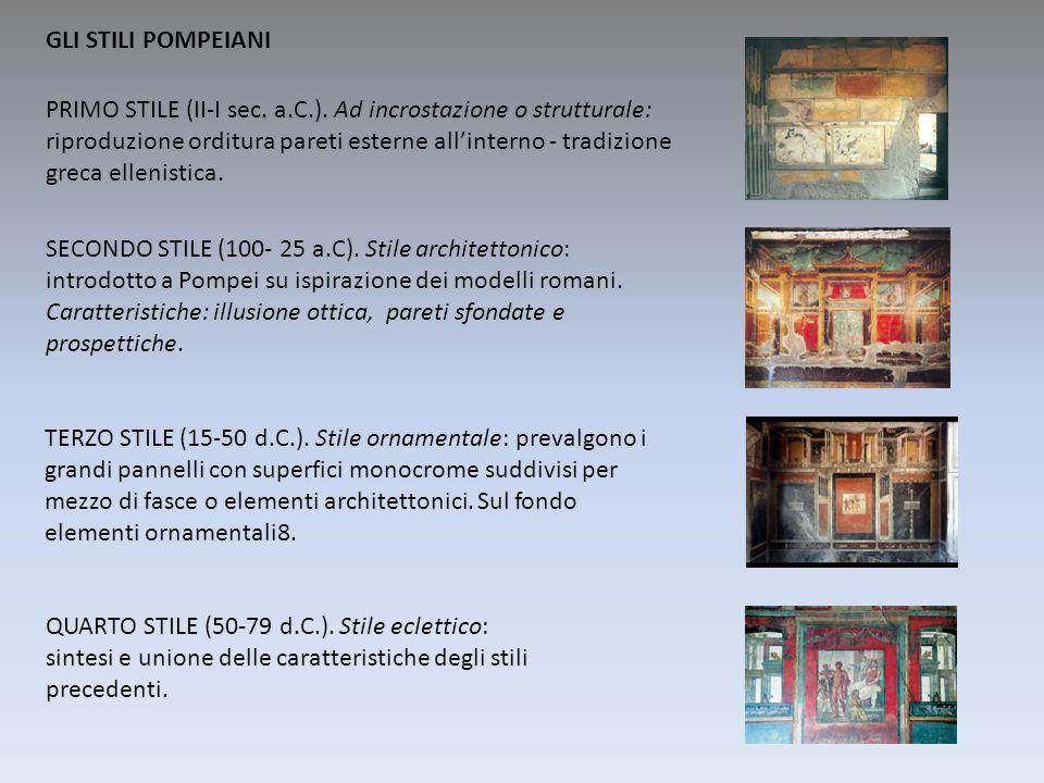 PRIMO STILE (II-I sec. a.C.). Ad incrostazione o strutturale: riproduzione orditura pareti esterne allinterno - tradizione greca ellenistica. SECONDO