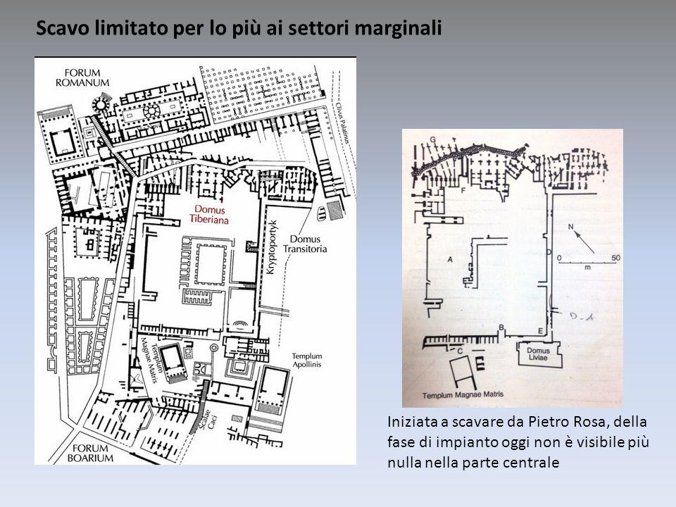 Iniziata a scavare da Pietro Rosa, della fase di impianto oggi non è visibile più nulla nella parte centrale Scavo limitato per lo più ai settori marg