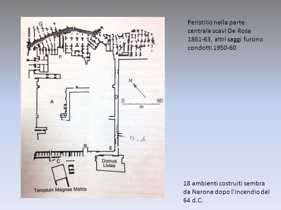 Peristilio nella parte centrale scavi De Rosa 1861-63, altri saggi furono condotti 1950-60 18 ambienti costruiti sembra da Nerone dopo lincendio del 6