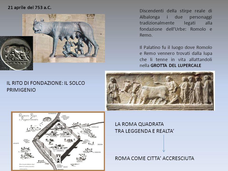 21 aprile del 753 a.C. Discendenti della stirpe reale di Albalonga i due personaggi tradizionalmente legati alla fondazione dellUrbe: Romolo e Remo. I