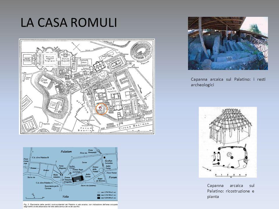 Capanna arcaica sul Palatino: ricostruzione e pianta Capanna arcaica sul Palatino: i resti archeologici LA CASA ROMULI