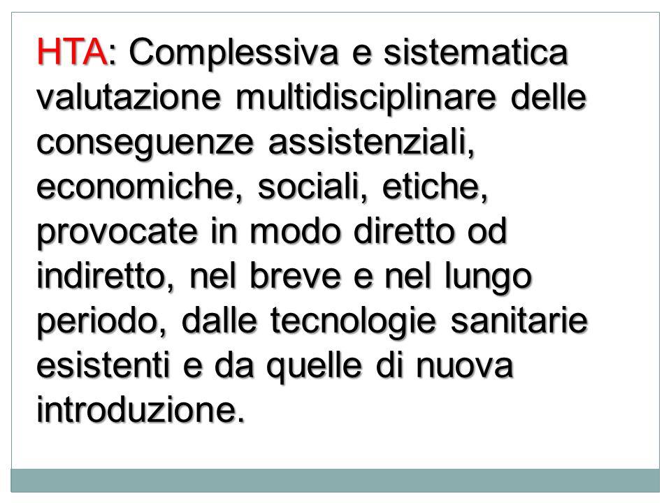 HTA: Complessiva e sistematica valutazione multidisciplinare delle conseguenze assistenziali, economiche, sociali, etiche, provocate in modo diretto o
