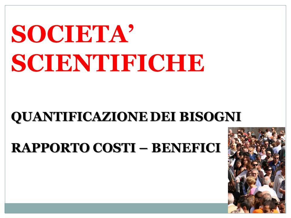 QUANTIFICAZIONE DEI BISOGNI RAPPORTO COSTI – BENEFICI SOCIETA SCIENTIFICHE QUANTIFICAZIONE DEI BISOGNI RAPPORTO COSTI – BENEFICI
